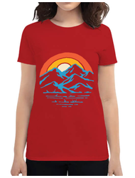 Tricou ADLER dama Mountain and rainbow Rosu