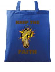 Sacosa din panza Keep the Faith Albastru regal