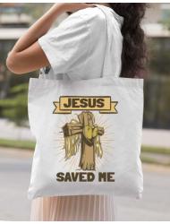 Sacosa din panza Jesus Saved Me Alb