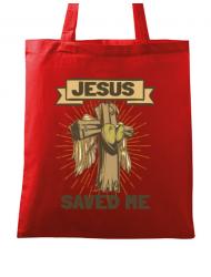 Sacosa din panza Jesus Saved Me Rosu