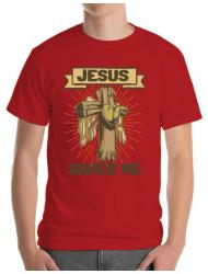 Tricou ADLER barbat Jesus Saved Me Rosu