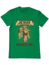 Tricou ADLER barbat Jesus Saved Me Verde mediu