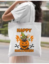 Sacosa din panza Halloween Pug Alb