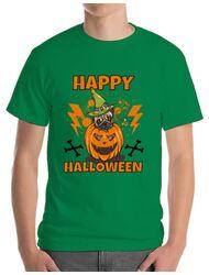 Tricou ADLER barbat Halloween Pug Verde mediu