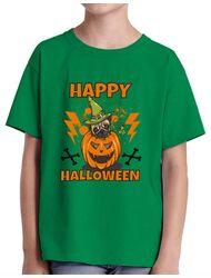 Tricou ADLER copil Halloween Pug Verde mediu