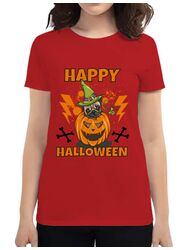 Tricou ADLER dama Halloween Pug Rosu