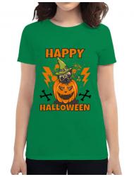 Tricou ADLER dama Halloween Pug Verde mediu