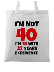 Sacosa din panza 40 Birthday Alb