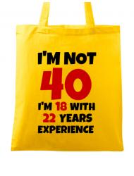 Sacosa din panza 40 Birthday Galben