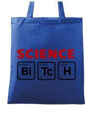 Sacosa din panza Science Bitch Albastru regal