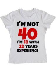Tricou ADLER dama 40 Birthday Alb