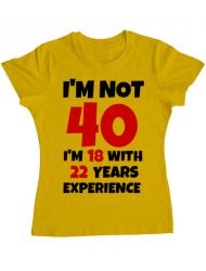 Tricou ADLER dama 40 Birthday Galben