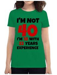 Tricou ADLER dama 40 Birthday Verde mediu