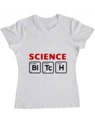 Tricou ADLER dama Science Bitch Alb