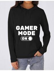 Hoodie dama cu gluga Gamer mode on Negru