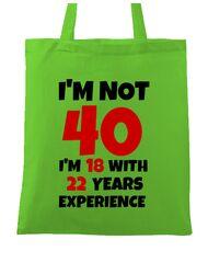 Sacosa din panza 40 Birthday Verde mar
