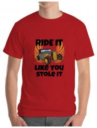 Tricou ADLER barbat Ride it like you stole it Rosu