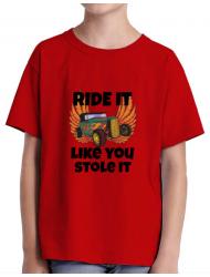 Tricou ADLER copil Ride it like you stole it Rosu
