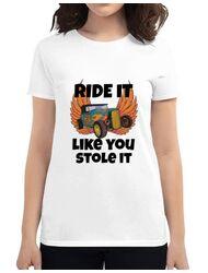 Tricou ADLER dama Ride it like you stole it Alb