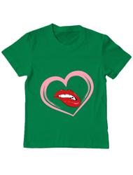 Tricou ADLER copil buze si inima Verde mediu