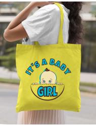 Sacosa din panza It's a baby girl Galben