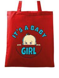 Sacosa din panza It's a baby girl Rosu