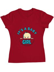 Tricou ADLER dama It's a baby girl Rosu