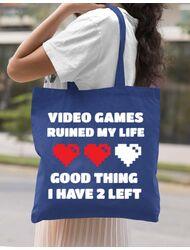 Sacosa din panza Video games ruined my life Albastru regal