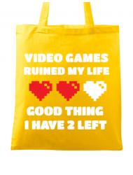 Sacosa din panza Video games ruined my life Galben