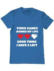 Tricou ADLER barbat Video games ruined my life Albastru azuriu