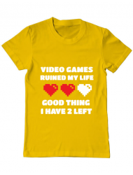 Tricou ADLER barbat Video games ruined my life Galben