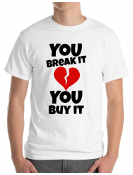 Tricou ADLER barbat You break it , you buy it Alb