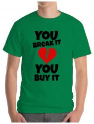 Tricou ADLER barbat You break it , you buy it Verde mediu