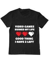 Tricou ADLER copil Video games ruined my life Negru