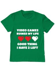Tricou ADLER copil Video games ruined my life Verde mediu