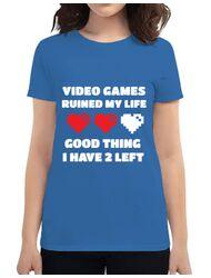 Tricou ADLER dama Video games ruined my life Albastru azuriu