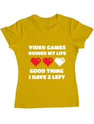 Tricou ADLER dama Video games ruined my life Galben