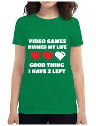 Tricou ADLER dama Video games ruined my life Verde mediu
