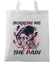 Sacosa din panza Borrow me the pain Alb