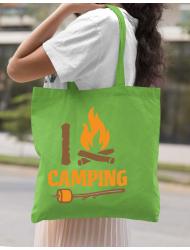 Sacosa din panza I love Camping Verde mar