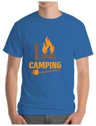 Tricou ADLER barbat I love Camping Albastru azuriu