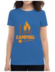 Tricou ADLER dama I love Camping Albastru azuriu