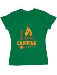 Tricou ADLER dama I love Camping Verde mediu