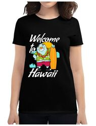 Tricou ADLER dama Welcome to Hawaii Negru