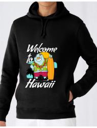 Hoodie barbat cu gluga Welcome to Hawaii Negru