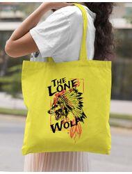 Sacosa din panza The lone wolf Galben