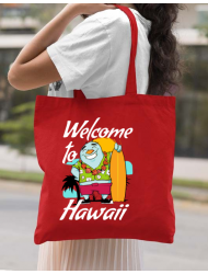 Sacosa din panza Welcome to Hawaii Rosu