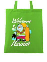 Sacosa din panza Welcome to Hawaii Verde mar