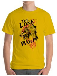 Tricou ADLER barbat The lone wolf Galben