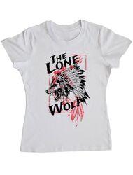 Tricou ADLER dama The lone wolf Alb